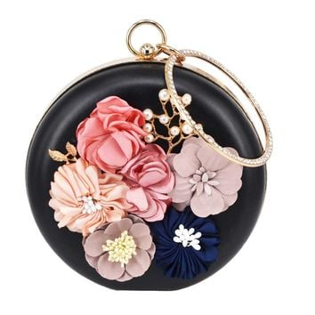 Circular pu Flower Women Clutch Evening Bag Lovely Black Wristlets Floral party Bag Wedding Bag pochette Female Handbag