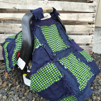 Flash SALE Car Seat Canopy Baby Quilt Blue Lime Green Houndstooth, Ready To Ship