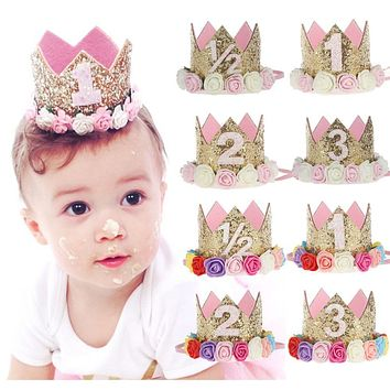 Children's Flower Crown Hairband Birthday Party Birthday Gifts baby girls photo props hair accessories nylon headband crown