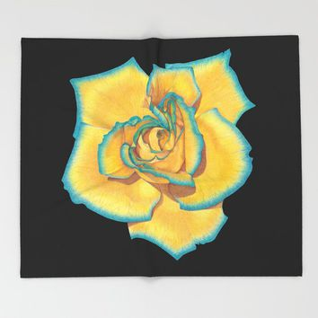 Yellow and Turquoise Rose on Black Throw Blanket by drawingsbylam