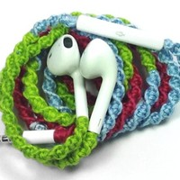 MyBuds Wrapped Tangle-Free Earbuds for iPhone   Turquoise Aqua Lime Green Pink   with Microphone and Volume Control