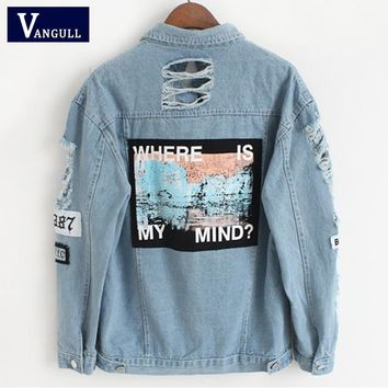 Trendy Women Frayed Denim Bomber Jacket Appliques Print Where Is My Mind Lady Vintage Elegant Outwear Autumn Fashion Coat Vangull 2018 AT_94_13