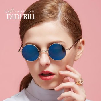 DIDI Lovers Polarized Sunglasses Men Brand Desinger Retro Small Round Steampunk Eyewear Flat Coating Lens Alloy Frame Gafas U408