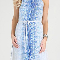 Ombre Print Dress W/ Braided Trim