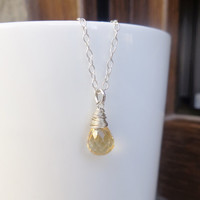 Wire Wrapped Citrine Necklace November Birthstone Layering Necklace Yellow Gemstone