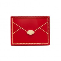 Red Patent Envelope Card Holder | Card Holders | Purses | | Lulu Guinness