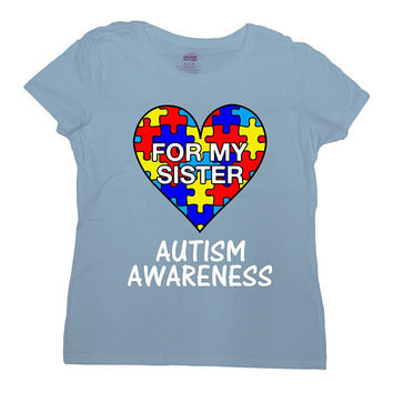 Autism Awareness Shirt Autistic Support T Shirt Siblings Gifts For Brother TShirt Autism Month For My Sister Mens Ladies Tee - SA1047