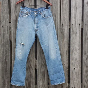 Vintage LEVI'S 501 Jeans - SZ 35 x 32 - Actual 33 x 28 - Feel the Love!