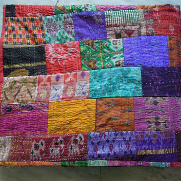Vintage Indian Quilt -Old Patola Silk Sari Kantha Quilted Patchwork Bedspreads,Throws,Ralli,Gudari Handmade Bedding