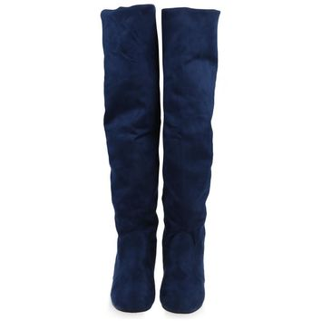 over the knee boots autumn winter shoes women suede boots round toe thigh high boots