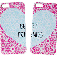 Damask Heart Shaped Best Friends Phone Case