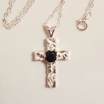 Cross Necklace With Onyx Gemstone. 925 Sterling Silver. AAA Natural 5mm Black Onyx.