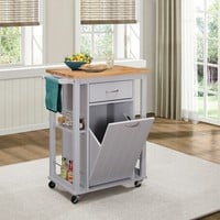 Arbor collection two tone grey and natural finish wood kitchen island cabinet with casters