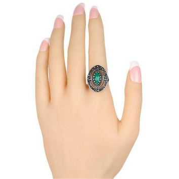 fashion jewelry womens vintage old silver love ring best gift ring 0 2