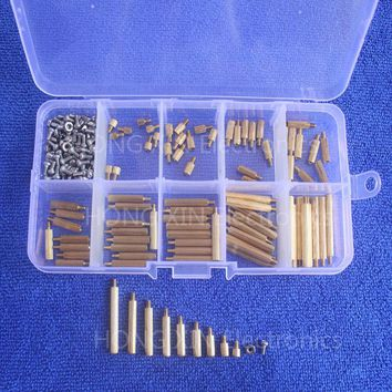 270pcs PCB M2 Female Threaded Brass 304 stainless steel Spacer Standoffs Screw Nut Assortment Set free shipping