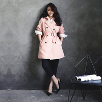 womens trench coat in pink,long length,double breasted,with belt,minimalist style,high fashion,chic,mod.long jacket.--E0429