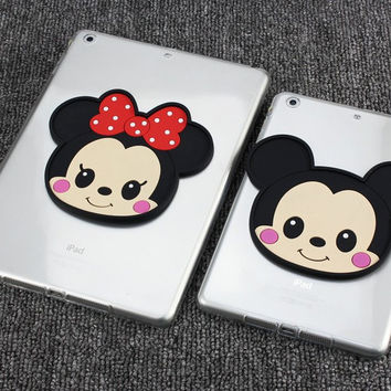 3D Cartoon Mickey Minnie thin transparent soft silicone cover case for apple ipa d mini 4 3 2 1 air 2 1  pro 9.7inch cover capa