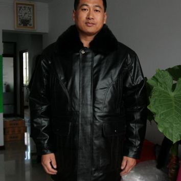 Men's winter genuine natural leather coat & jacket fleece wool fur removable liner father long clothing black brown xxxxl 4xl