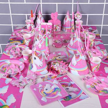 Hoomall Unicorn Cup Straw Plate Napkins Candy Box Banner Flags Hats Toys Tableware Baby Shower Wedding Decoration Party Supplies