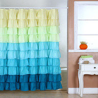 Walmart: Somerset Spring Ruffle Home Shower Curtain with Buttonholes