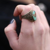 1990's Chunky Pressed Flower Ring from Bohemianrose vintage
