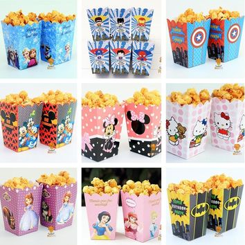 12pcs/lot Mickey Minnie Batman Sofia Avengers  go Popcorn Box case Gift Box Favor Accessory kids Birthday Party SuppliesKawaii Pokemon go  AT_89_9