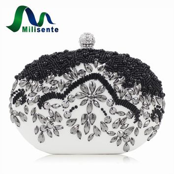 New Black Beaded Bags Oval Evening Bag Fashion Small Day Clutch Lady Wedding Purse Diamonds White Party Handbags Chain