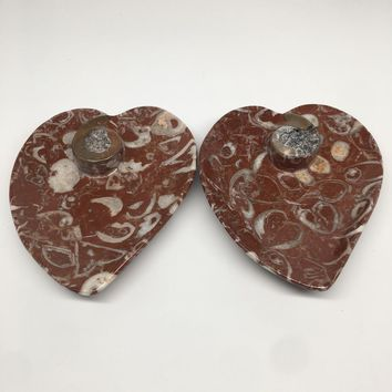 "2pcs,6.25""x5.2"" Ammonite Fossils Heart Plates Dishes Red Marble @Morocco,MF1361"