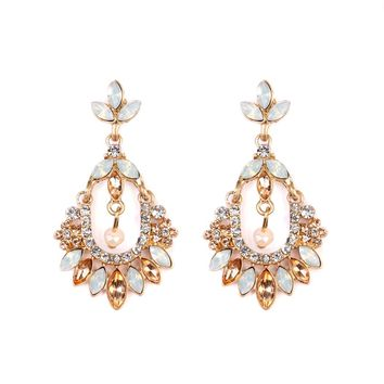 Peach & Goldtone Statement Drop Earrings