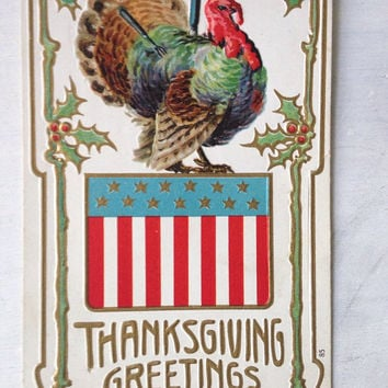Thanksgiving Embossed Postcard / Turkey and American Flag Postcard Used 1910's