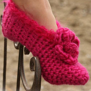 Wool slippers crochet slippers cosy Gift hot pink slippers winter slippers black slippers purple slippers MANY COLORS mohair Drops Lilith