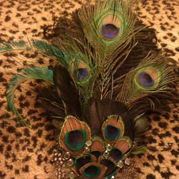 Wedding couture, bridal couture, peacock feather, peacock feather, bridal fascinator, pin up, green and purple fascinator,OOAK, NOLA,