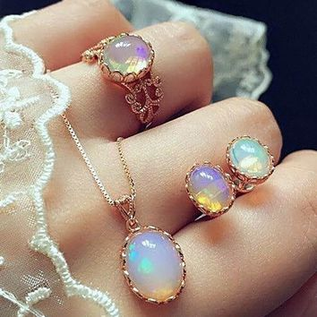 Trendy Opal Jewelry Sets For Women Rose Gold Color Pendant Necklaces Ring Earrings Set Wedding Jewelry Gifts