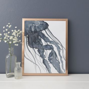 Modern Blue Jellyfish Watercolor Art Print or Canvas