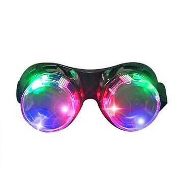 Light Up Glasses,LED Glasses for Party Toys Halloween Christmas Rave Costumes, LED Goggles for Kids Adults, Black