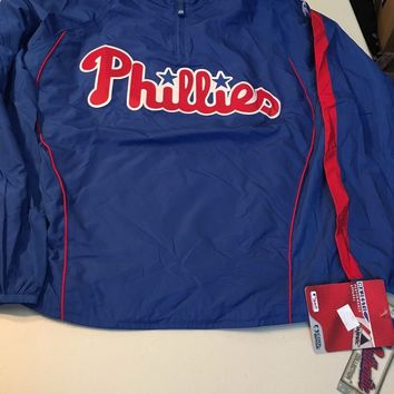 MAJESTIC PHILADELPHIA PHILLIES BLUE AUTHENTIC COLLECTION PULLOVER JACKET NWT