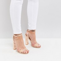 Public Desire Natasa Rose Gold Block Heeled Sandals at asos.com