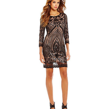 Gianni Bini Colette Sequined Baroque-Print Dress | Dillards