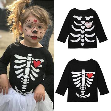 100% Cotton Skull Printed T-shirt for Girls Baby Clothing Top Tee Shirt