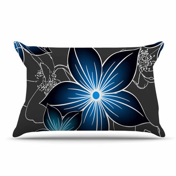 "Alison Coxon ""Charcoal And Cobalt"" Gray Blue Pillow Sham"