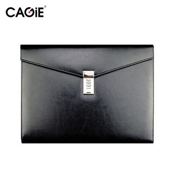 CAGIE Vintage A4 Black Leather Padfolio Men Business Management Contract Password Lock Document Bag Manager File Folder