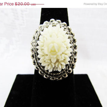 Vintage Molded Rose Ring | Adjustable Band White Flower Silver Tone Ring