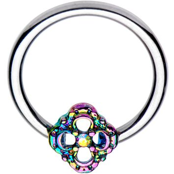 "16 Gauge 3/8"" Iridescent Rainbow Flower BCR Captive Ring"