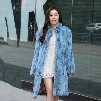 LOVELY-JINNUO women winter rabbit fur coat ladies stand collar long length warm real nature 100% rabbit fur coat outwear JN430
