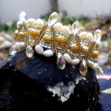 Romanza fresh water pearl bridal bracelet. 1920's Vintage Inspired Micro macrame wedding jewelry