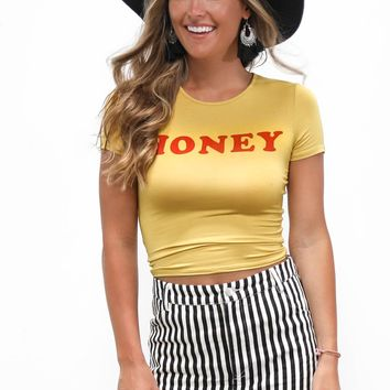 HONEY Mustard Crop Top