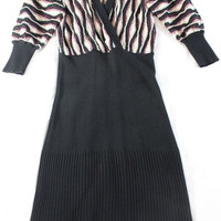 "~~~ EASY-SEXY-LUXE ~~~ M MISSONI WOOL ""FAUX-WRAP"" STRIPED KNIT DRESS ~ 42"