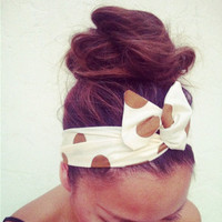 Large Polka Dot Dolly Bow Wire Headband