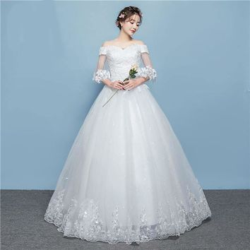 Embroidered Organza and Tulle Sleeve Flowers around Ball Gown with Spotted Sequined