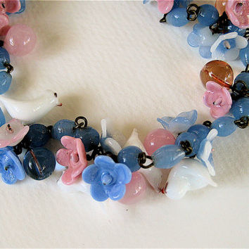Vintage Venetian Glass Bird Necklace White Birds Pink and Blue Flowers Sweet and Charming Handmade Glass Necklace